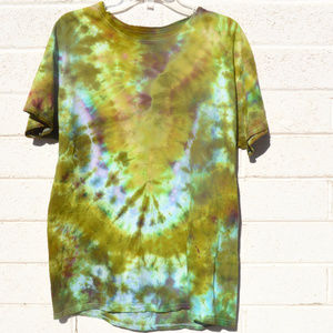 Chartreuse Plum Mustard Tie Dyed Tee Shirt Large